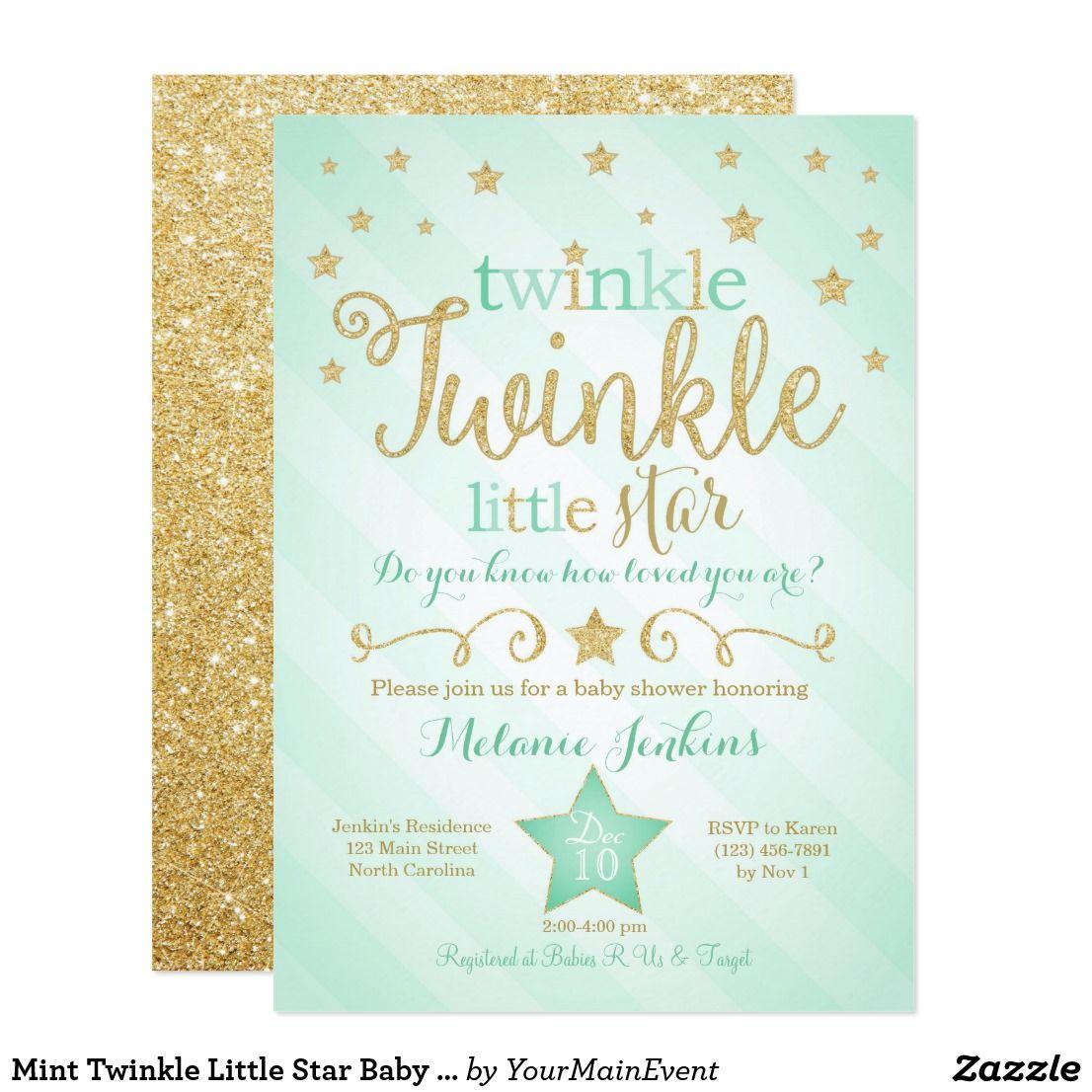 Mint Twinkle Little Star Baby Shower Invitation | Zazzle - Free Printable Twinkle Twinkle Little Star Baby Shower Invitations