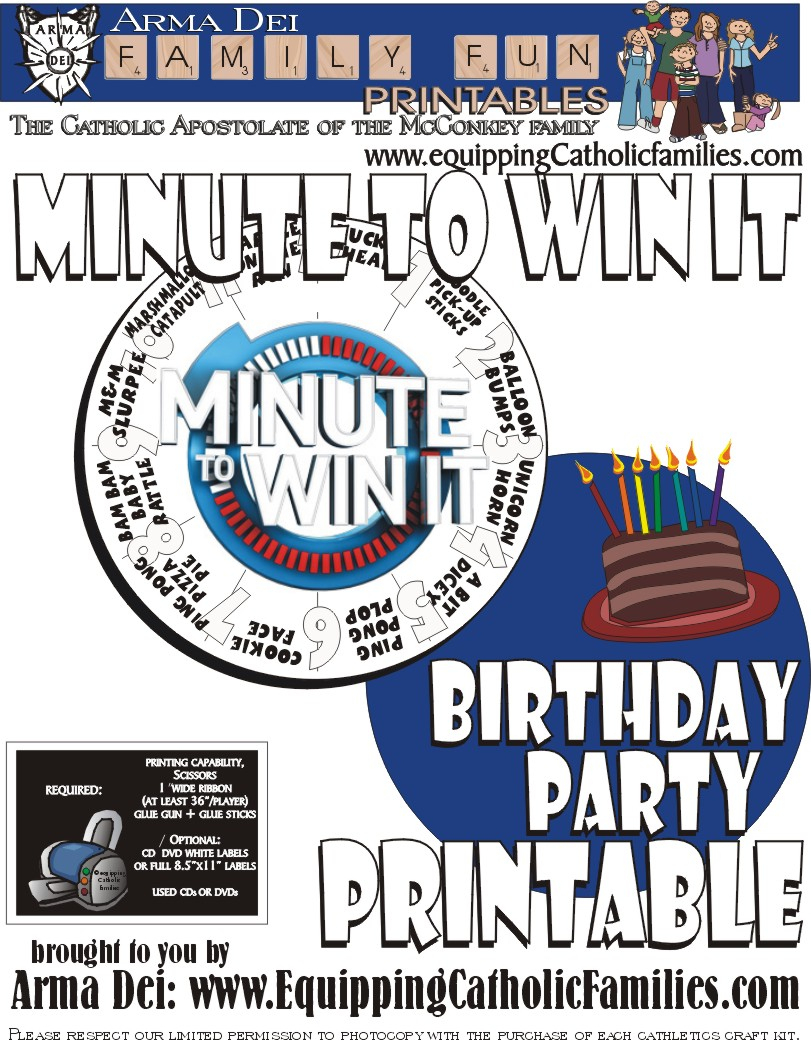 Minute To Win It With Free Printable - Free Printable Minute To Win It Invitations