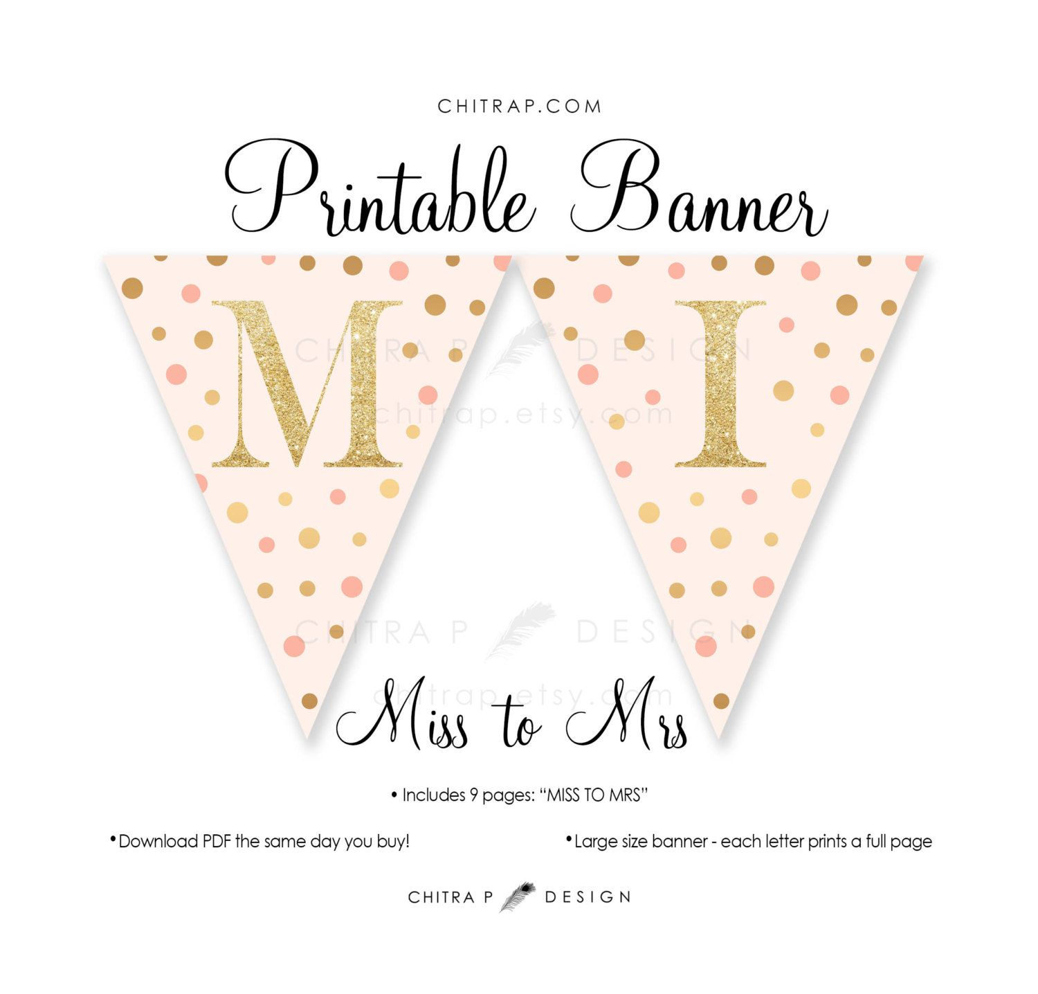 Miss To Mrs Banner - Printable, Bridal Shower Blush Pink Gold - Free Printable Miss To Mrs Banner
