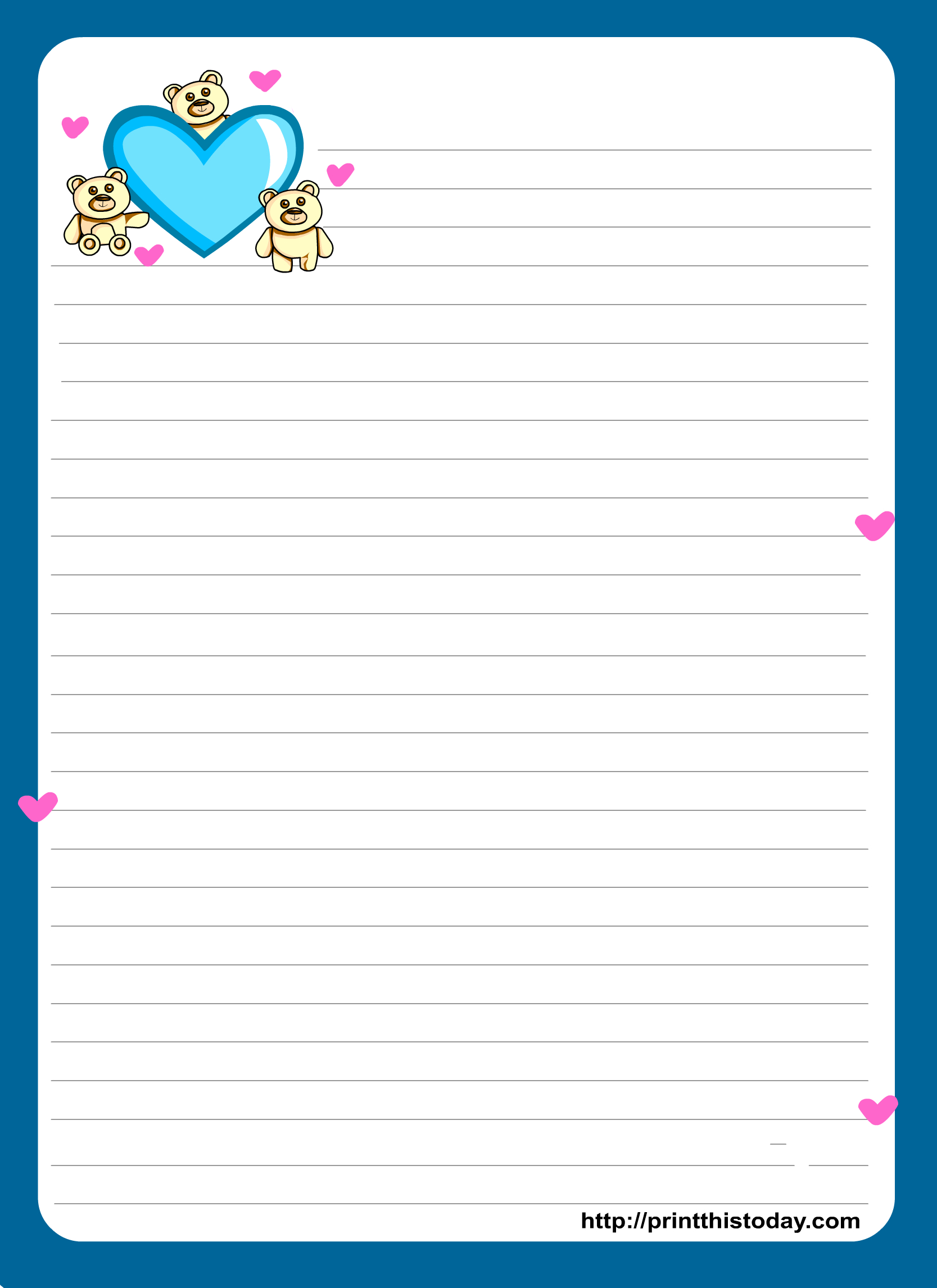 Miss You Love Letter Pad Stationery   Lined Stationery   Free - Free Printable Stationary