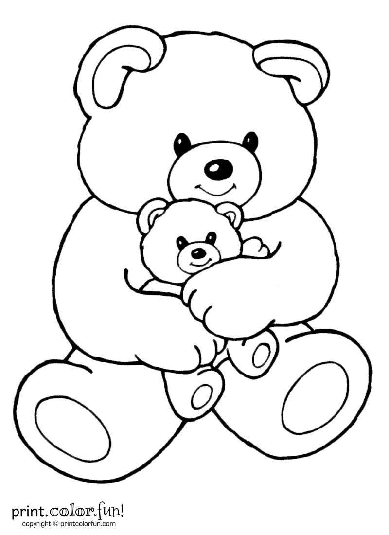 Mom And Baby Bear | Print. Color. Fun! Free Printables, Coloring - Teddy Bear Coloring Pages Free Printable
