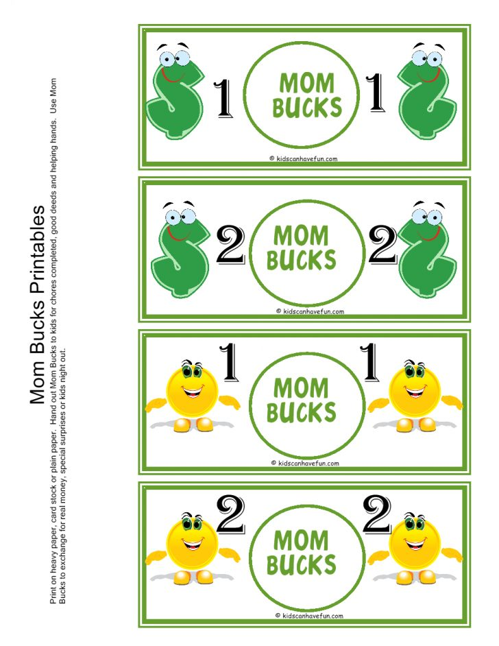 Free Printable Chore Bucks