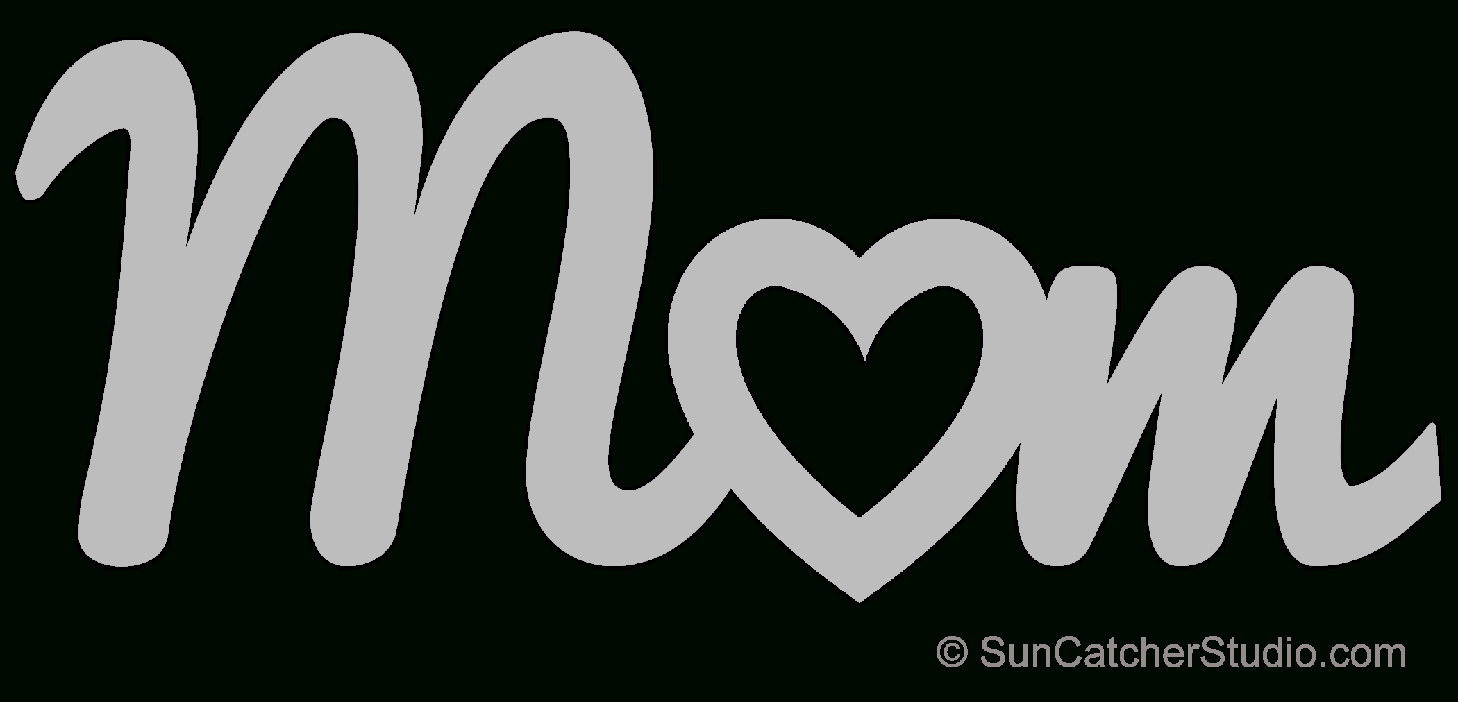 Mom Heart – Pattern, Template, Stencil, Printable Word Art Design - Free Printable Scroll Saw Patterns