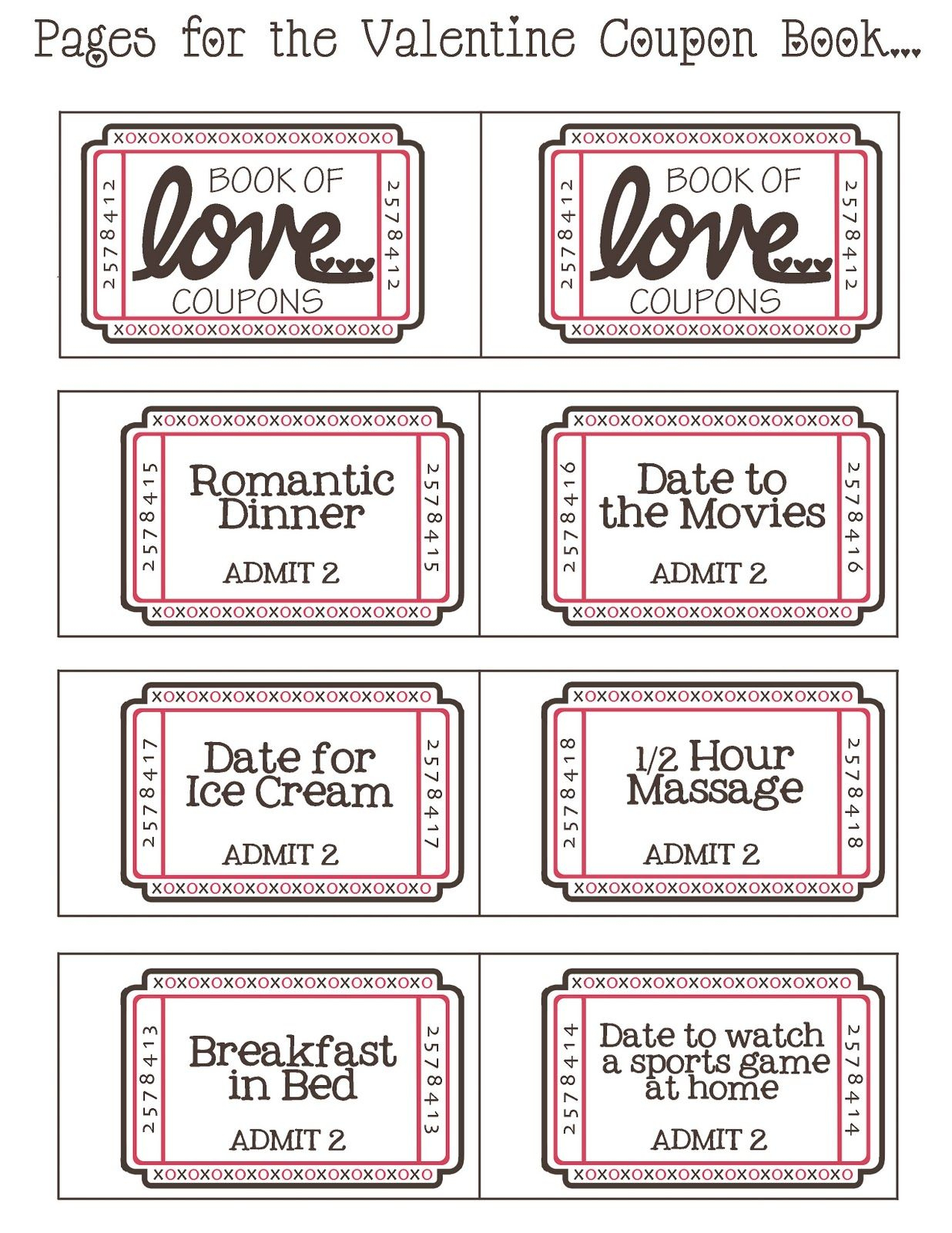 Mommyday Crafternight: {Free Printable} Valentine Coupon - Free Printable Valentine Books