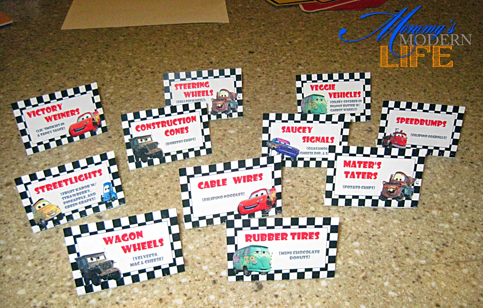 Mommy's Modern Life: How-To: Car-Themed Birthday Party On A Budget - Free Printable Cars Food Labels