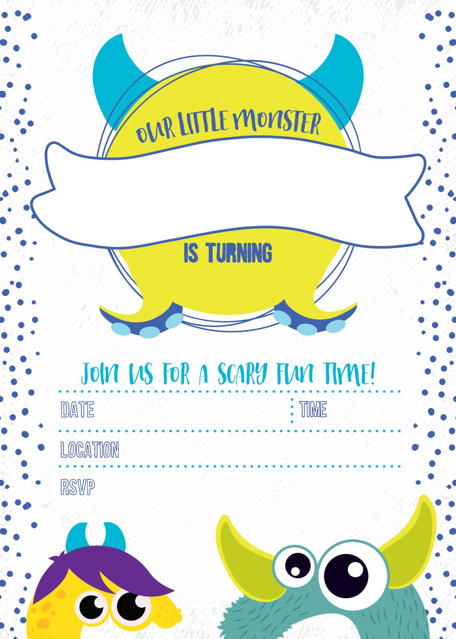 Monster Birthday Invitation Free Printable In 2019 | You Are My - Free Printable Monsters Inc Birthday Invitations