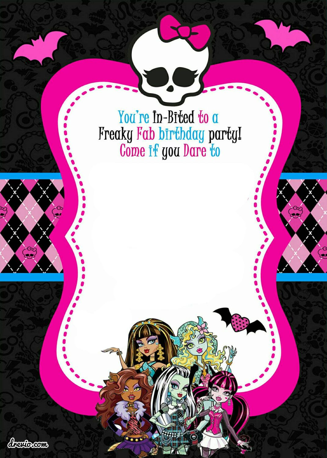 Monster High Party Invitations Template • Invitation Template Ideas - Free Printable Monster Templates