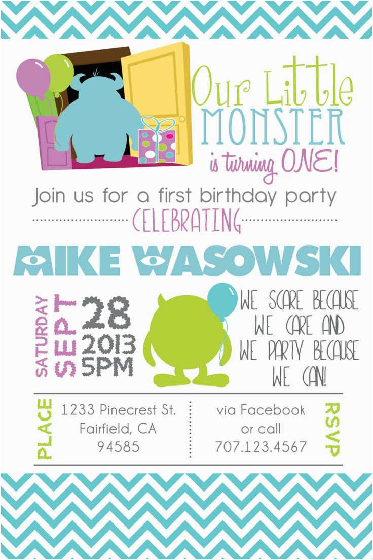 Monsters Inc First Birthday Invitations | Birthdaybuzz - Free Printable Monsters Inc Birthday Invitations