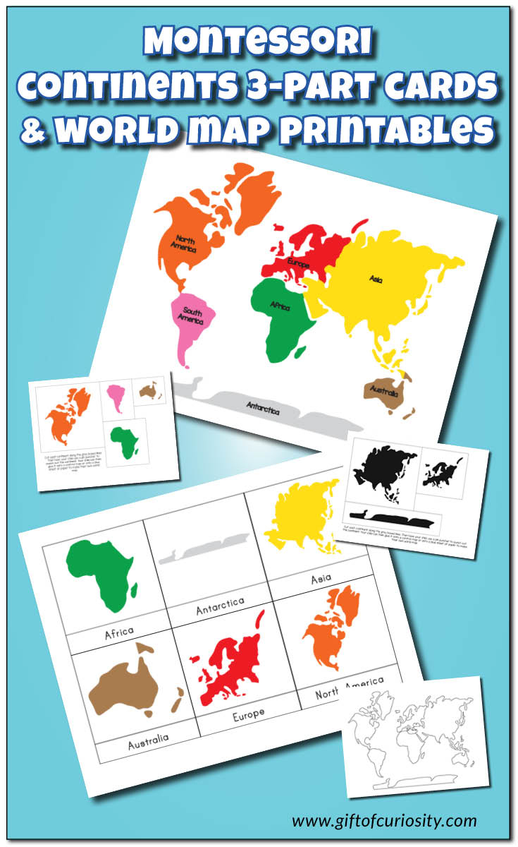 Montessori Continents 3-Part Cards And World Map Printables - Gift - Montessori World Map Free Printable