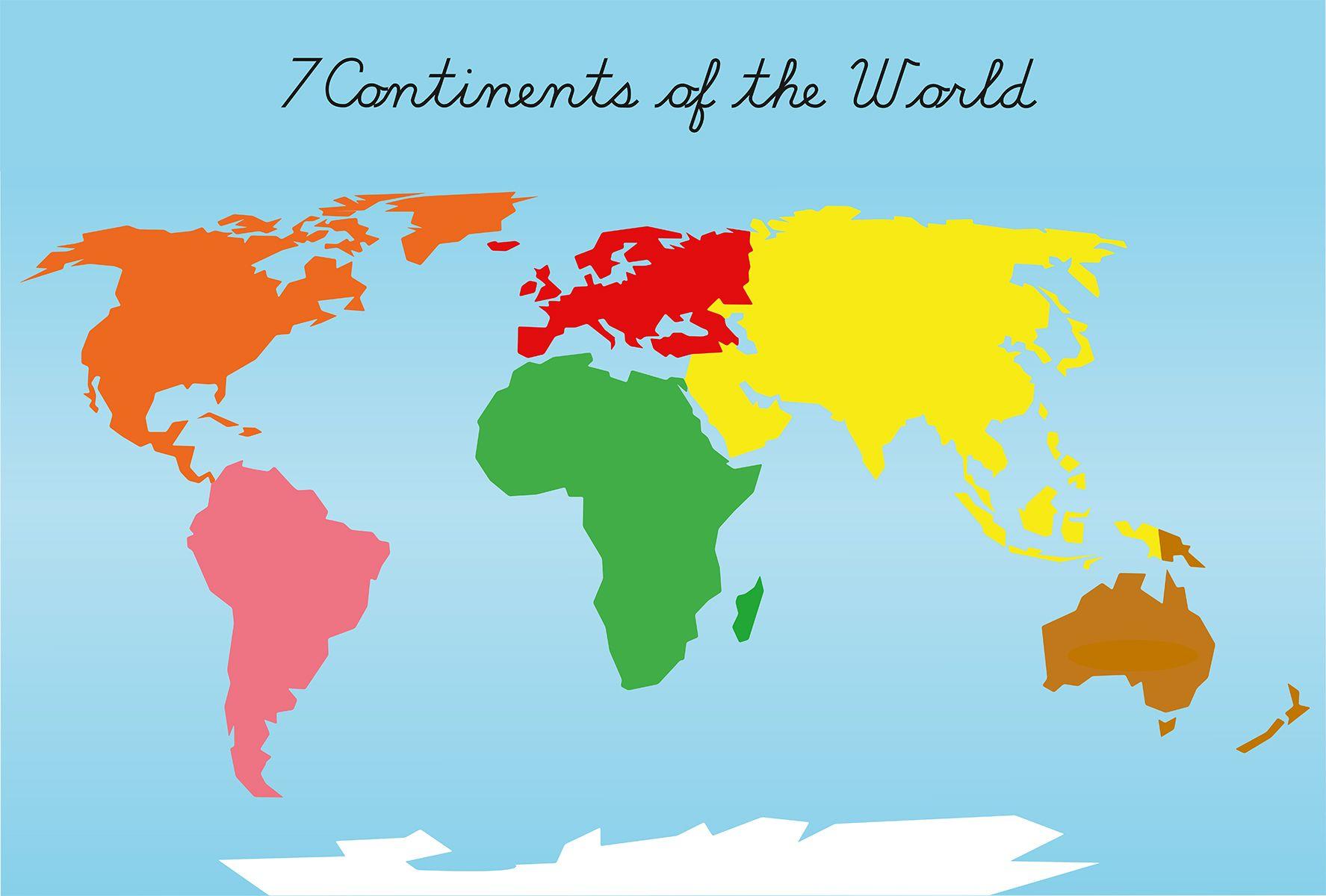 Montessori Puzzle Maps - 7 Continents Of The World | Montessori - Montessori World Map Free Printable