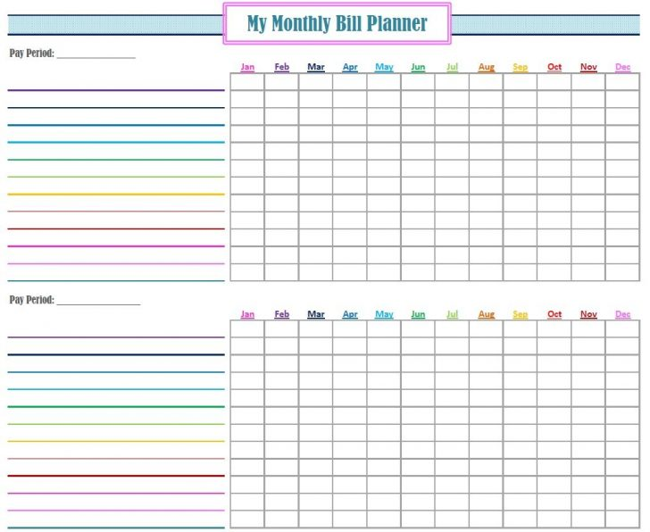 Free Printable Bill Tracker