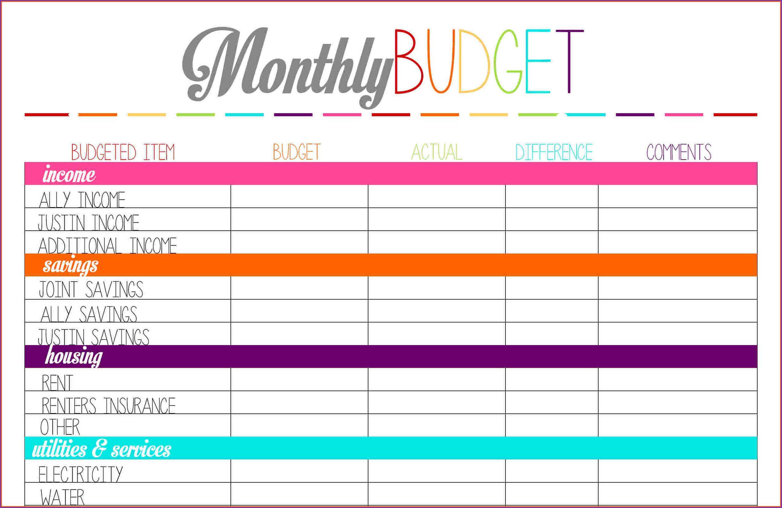 Monthly Budget Preadsheet Free Printable Worksheet Detailed Family - Free Printable Budget Planner Uk