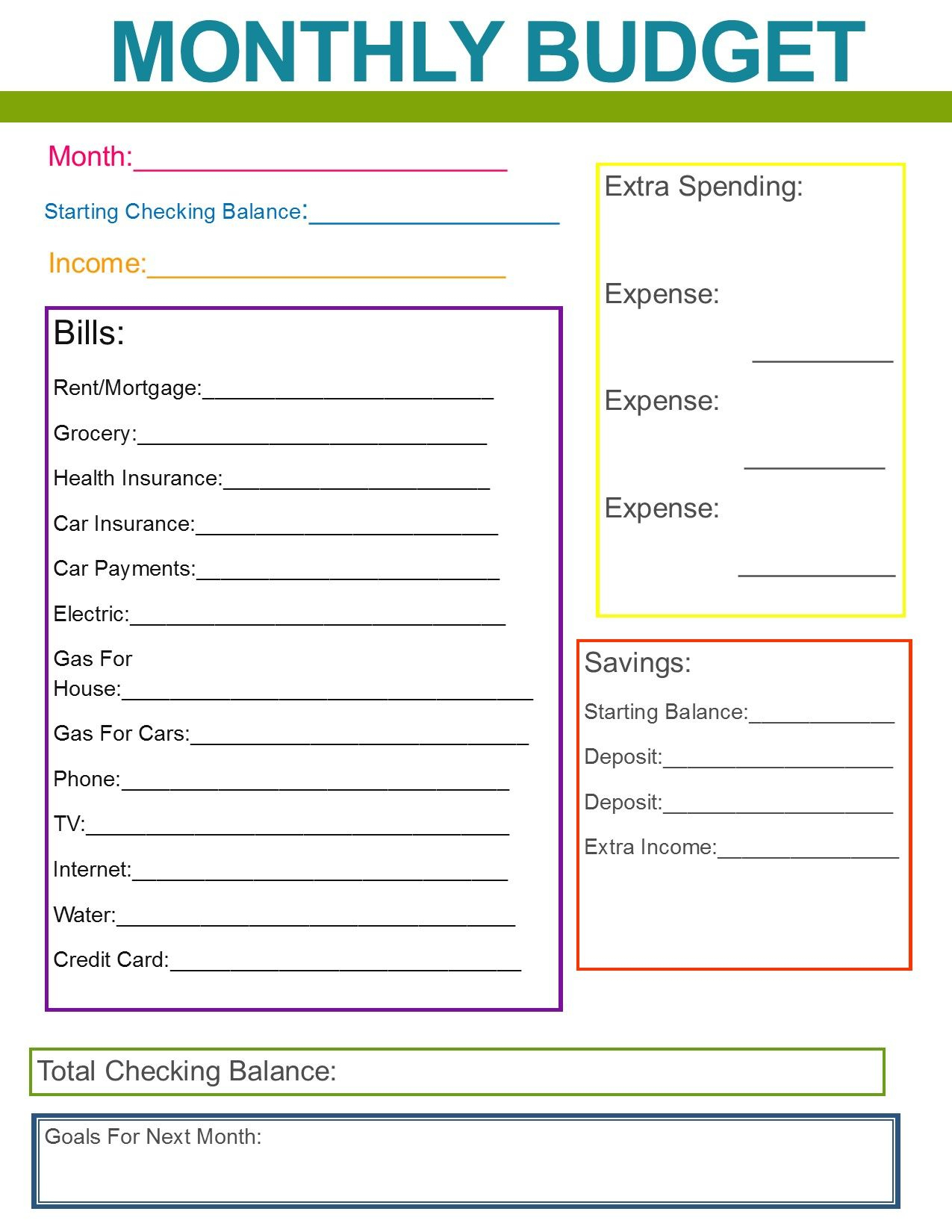 Monthly Family Budget | If Only I Was This Organized - Free Printable Monthly Household Budget Sheet
