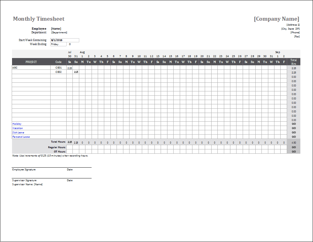 Monthly Timesheet Template For Excel - Free Printable Time Sheets
