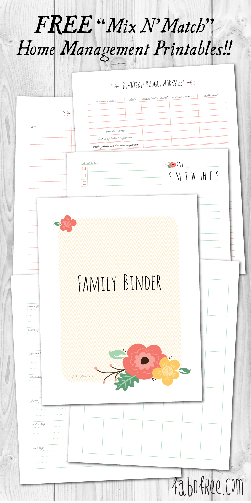 More Than 200 Free Home Management Binder Printables   Fab N' Free - Free Printable Household Binder