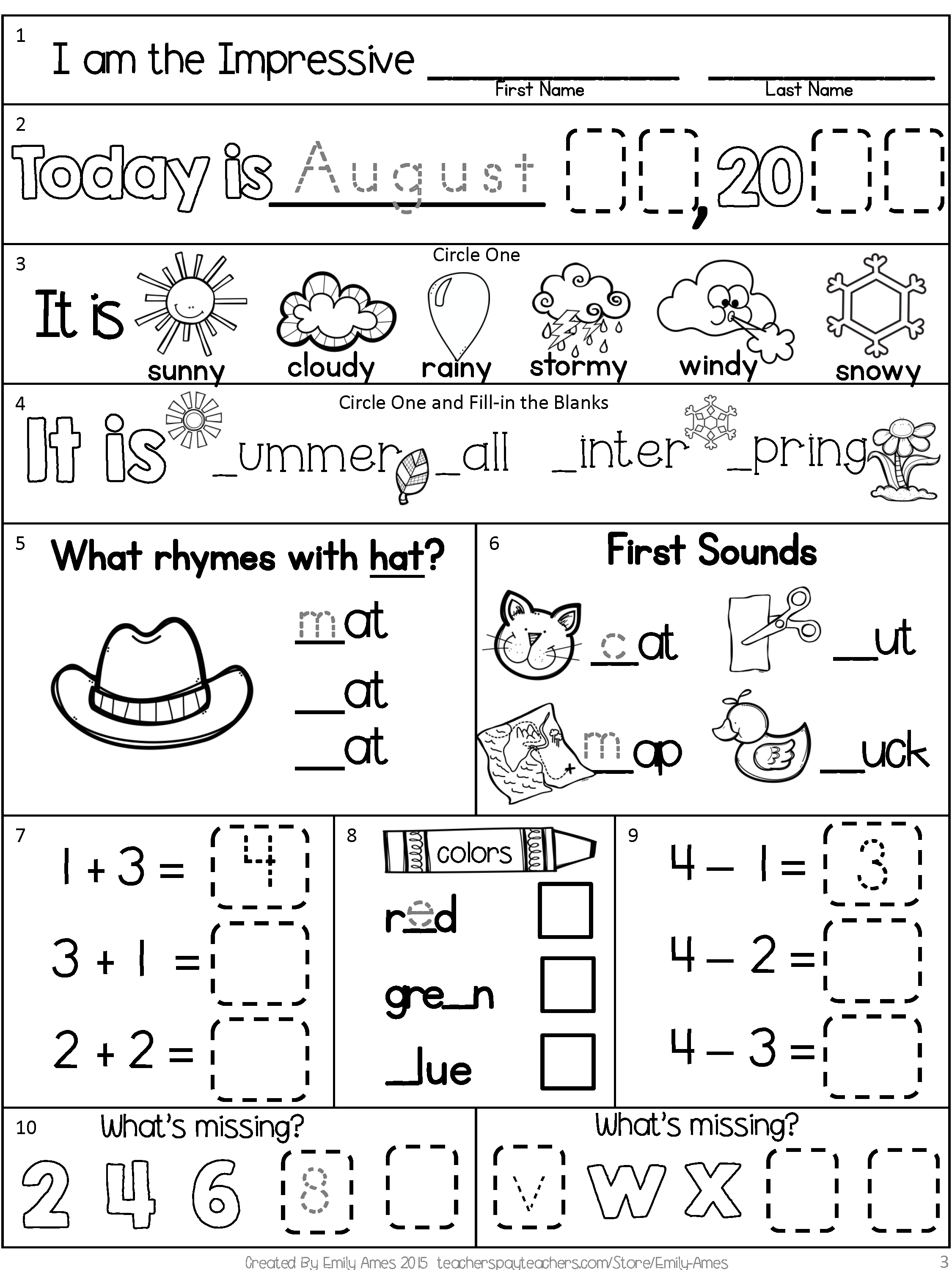 Morning Work Freebie: First Grade August Packet (Back To School - Free Printable 4Th Grade Morning Work