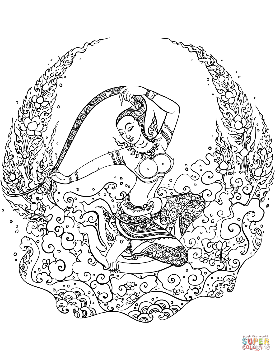 Mother Earth - Phra Mae Thorani Coloring Page | Free Printable - Earth Coloring Pages Free Printable