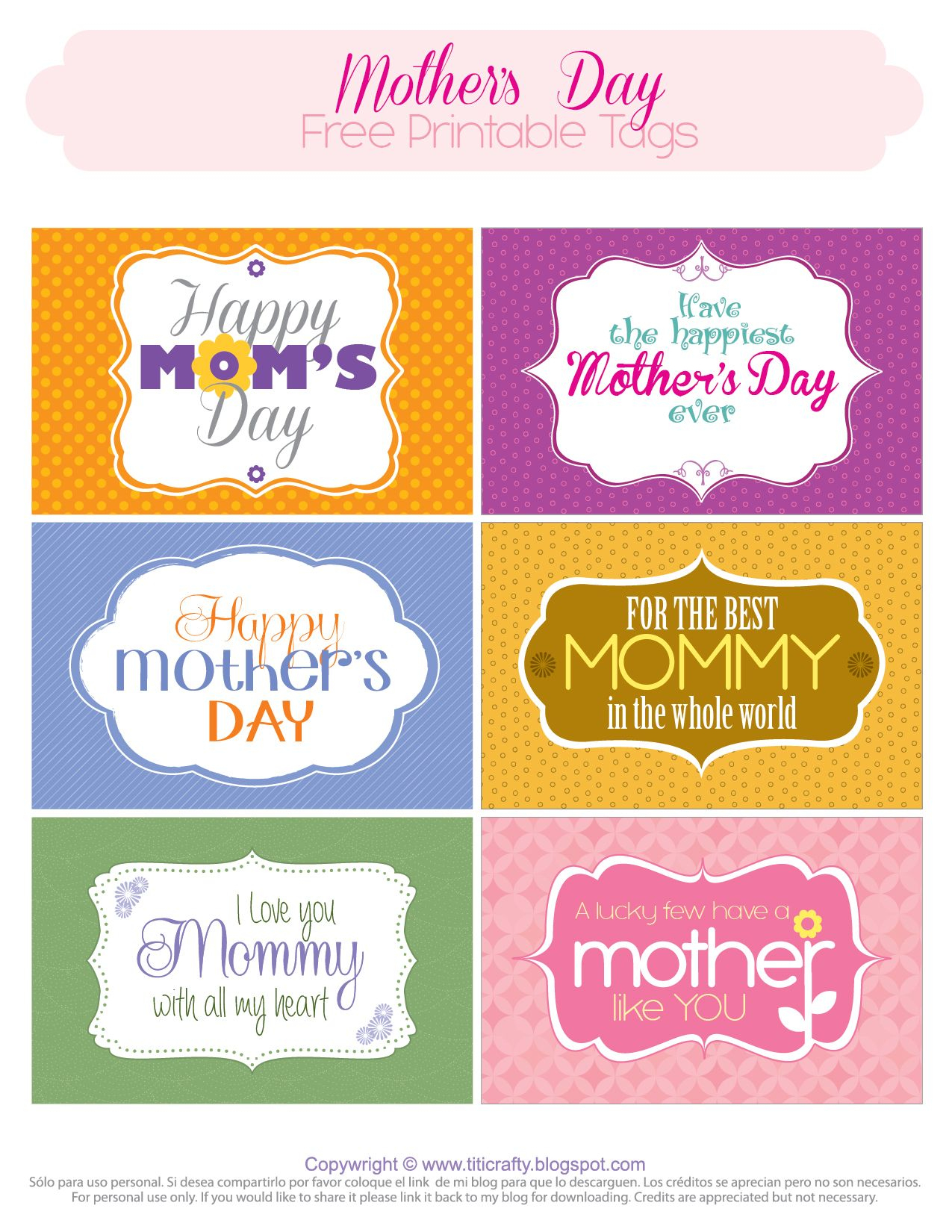 Mother's Day Free Printable Tags   Mother's Day And Grandmother - Free Printable Mothers Day Cards No Download