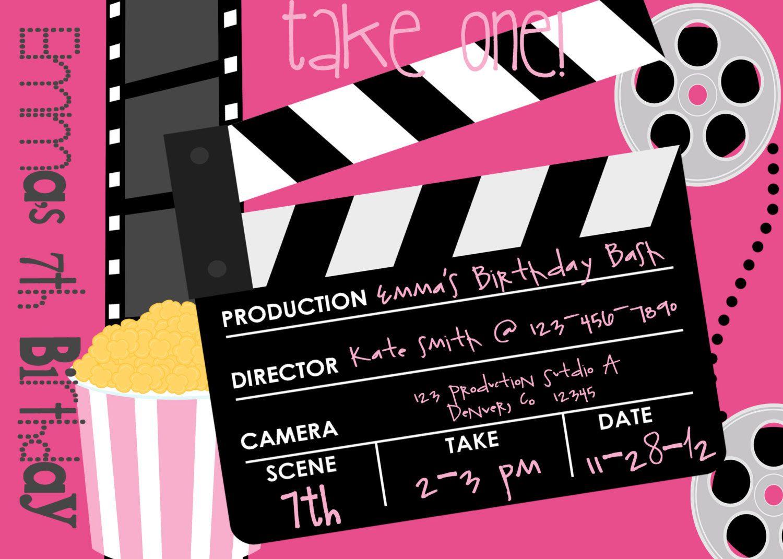 Movie Birthday Party Invitation Printable Party Invitationluv - Free Printable Movie Themed Invitations