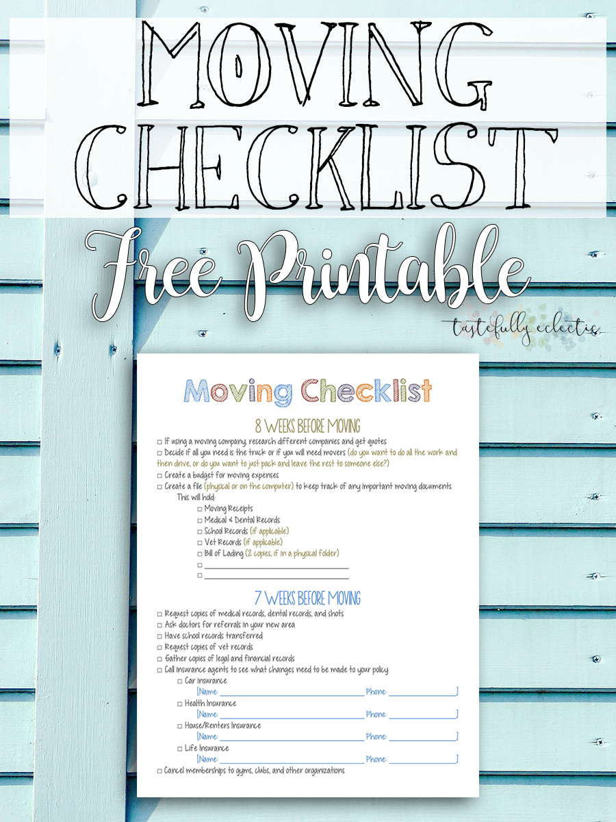 Moving Checklist { Free Printable } - Tastefully Eclectic - Free Printable Moving Checklist And Planner