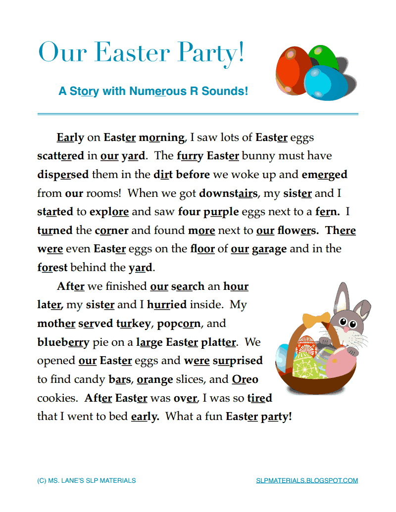 Ms. Lane's Slp Materials: Articulation-Vocalic /r/ Easter Themed - Free Printable Vocalic R Worksheets