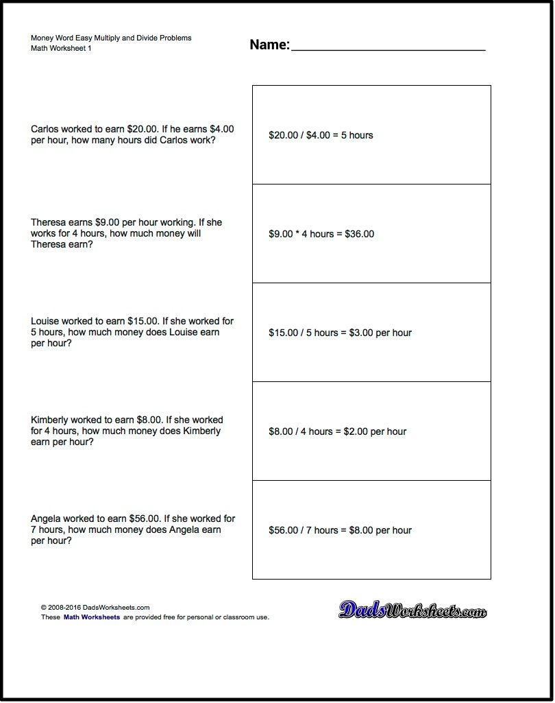 Multiplication Worksheet And Division Worksheet Money Word Problems - Free Printable Math Word Problems