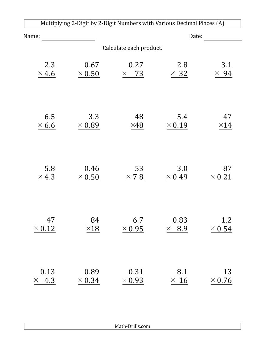 Multiplying 2-Digit2-Digit Numbers With Various Decimal Places (A) - Free Printable Multiplying Decimals Worksheets