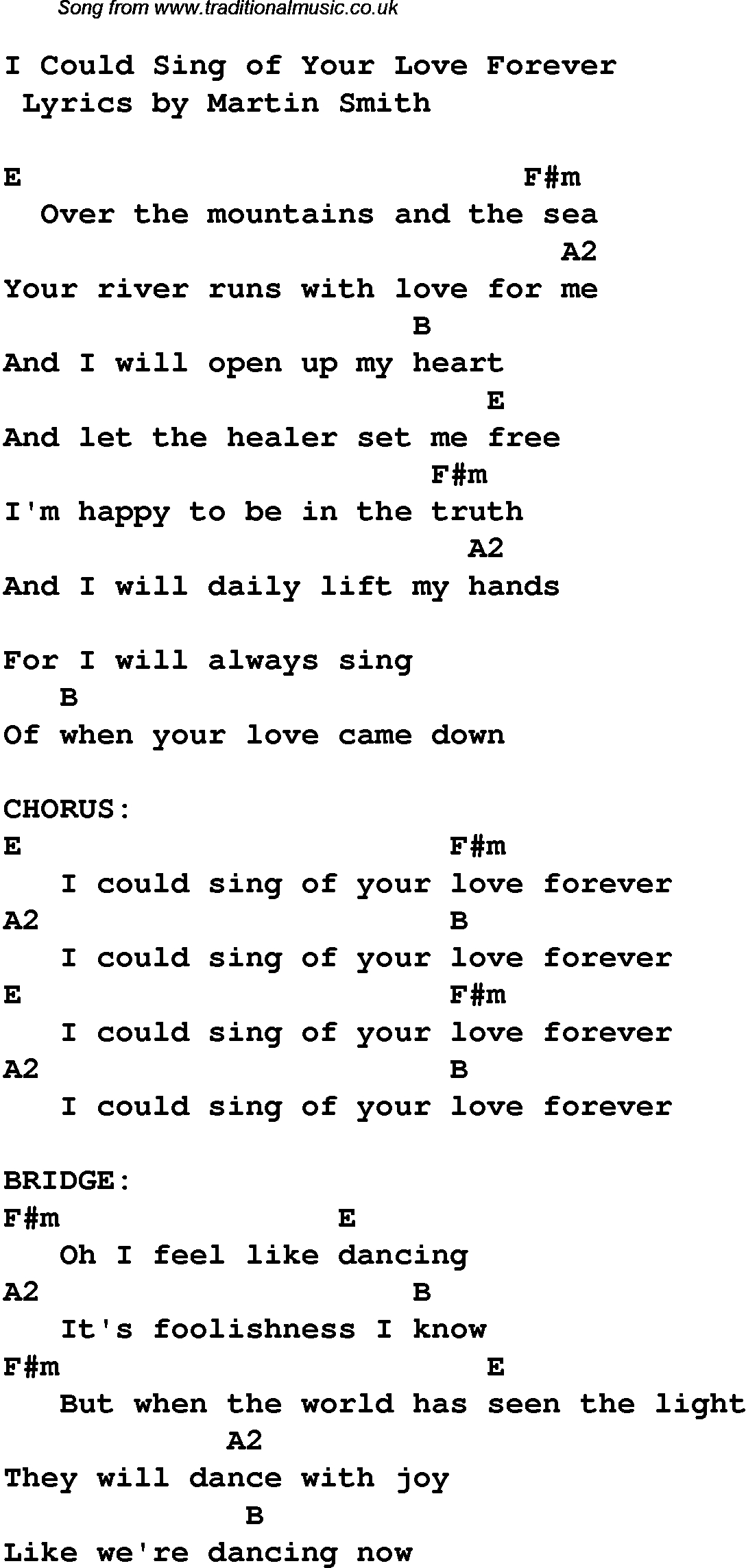 Music Forever |  /christian-Worship-Songs-Chords/i-Could-Sing-Of - Free Printable Lyrics To Christian Songs