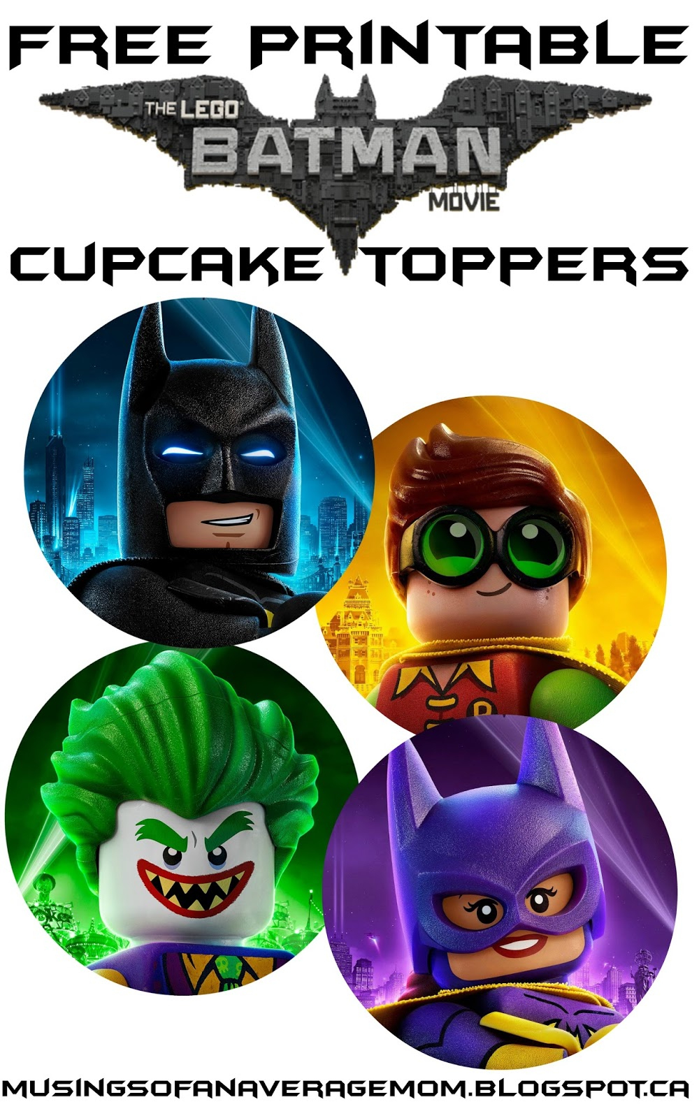 Musings Of An Average Mom: Free Lego Batman Cupcake Toppers - Batman Cupcake Toppers Free Printable