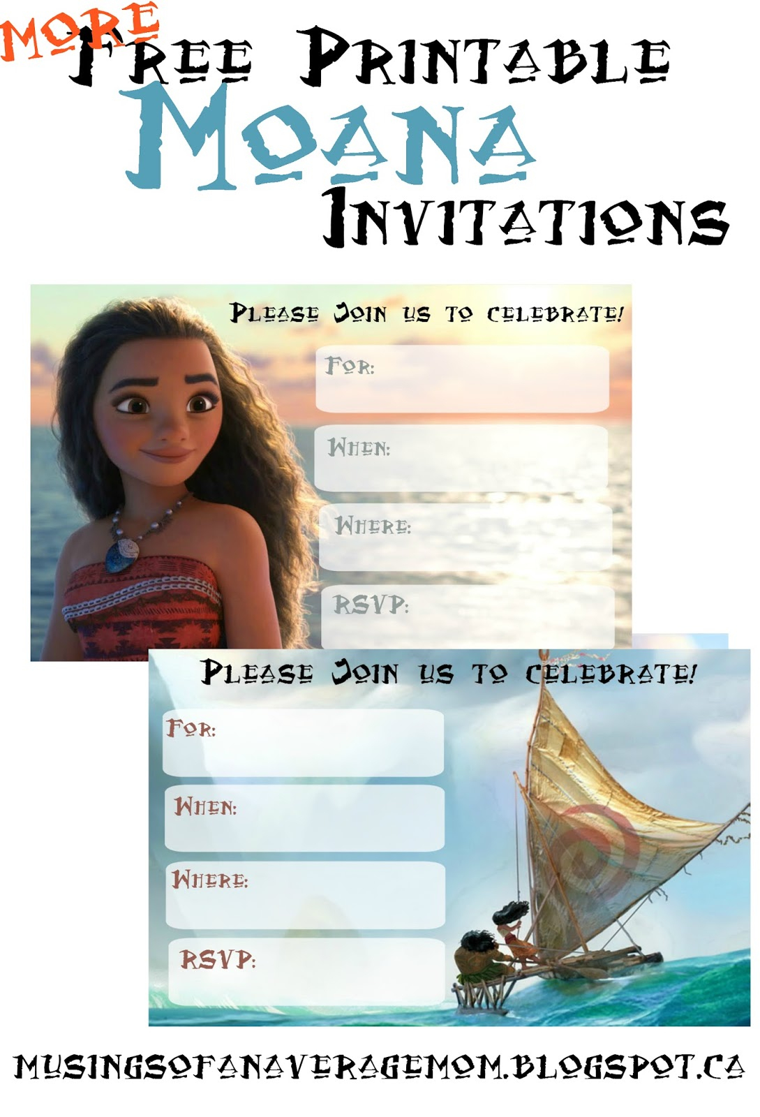 Musings Of An Average Mom: Free Printable Moana Invitations 2 - Free Moana Printable Invitations