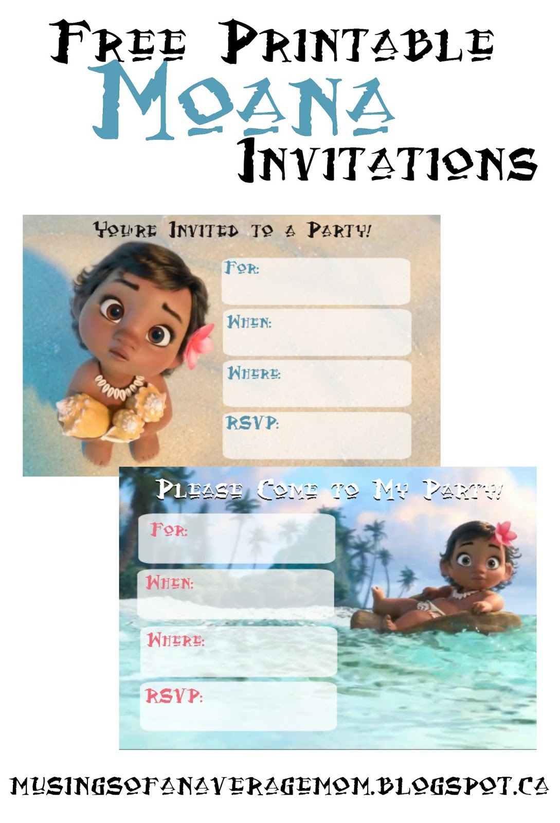Musings Of An Average Mom: Free Printable Moana Invitations - Free Moana Printable Invitations