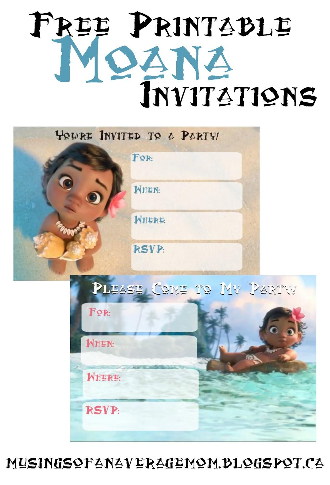 Musings Of An Average Mom: Free Printable Moana Invitations - Free Printable Moana Birthday Invitations