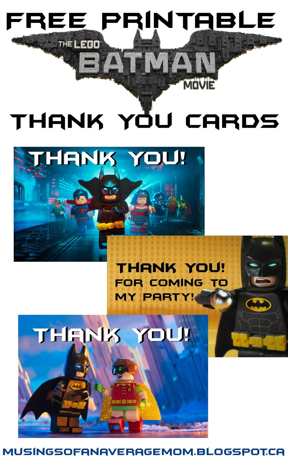 Musings Of An Average Mom: Lego Batman Thank You Cards - Free Printable Lego Batman