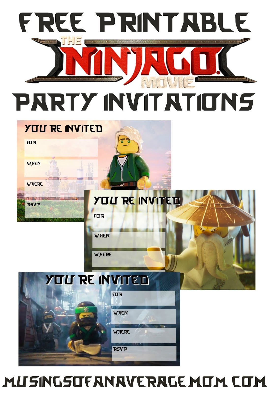 Musings Of An Average Mom: Ninjago Movie 2017 Invitations - Lego Ninjago Party Invitations Printable Free