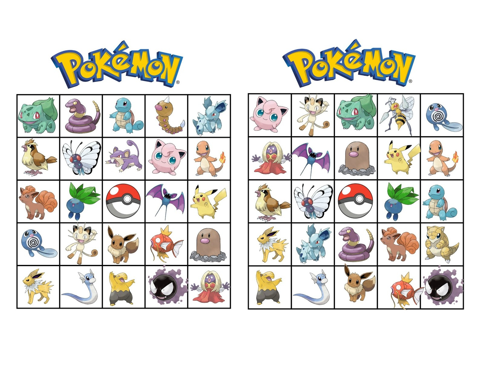 Musings Of An Average Mom: Pokemon Bingo - Free Printable Pokemon Pictures