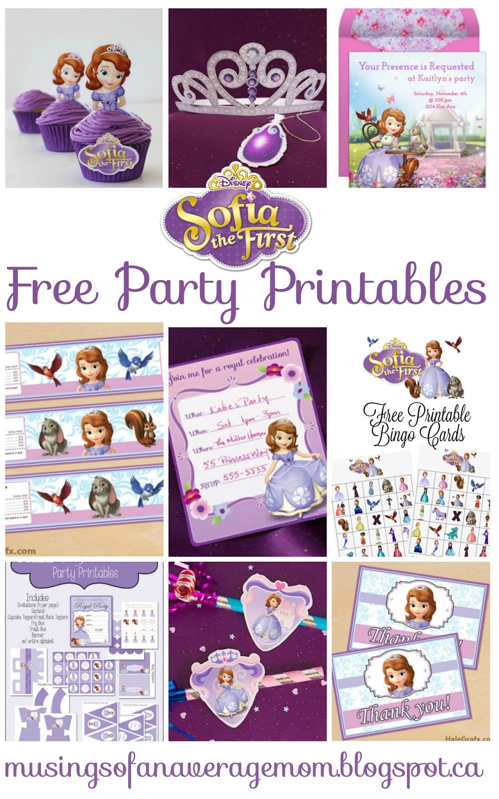 Musings Of An Average Mom: Sofia The First - Party Printables - Free Printable Sofia Cupcake Toppers