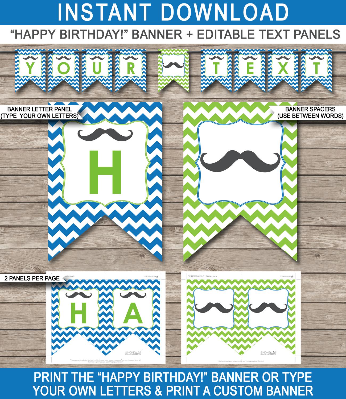 Mustache Party Banner Template | Birthday Banner | Editable Bunting - Birthday Banner Templates Free Printable