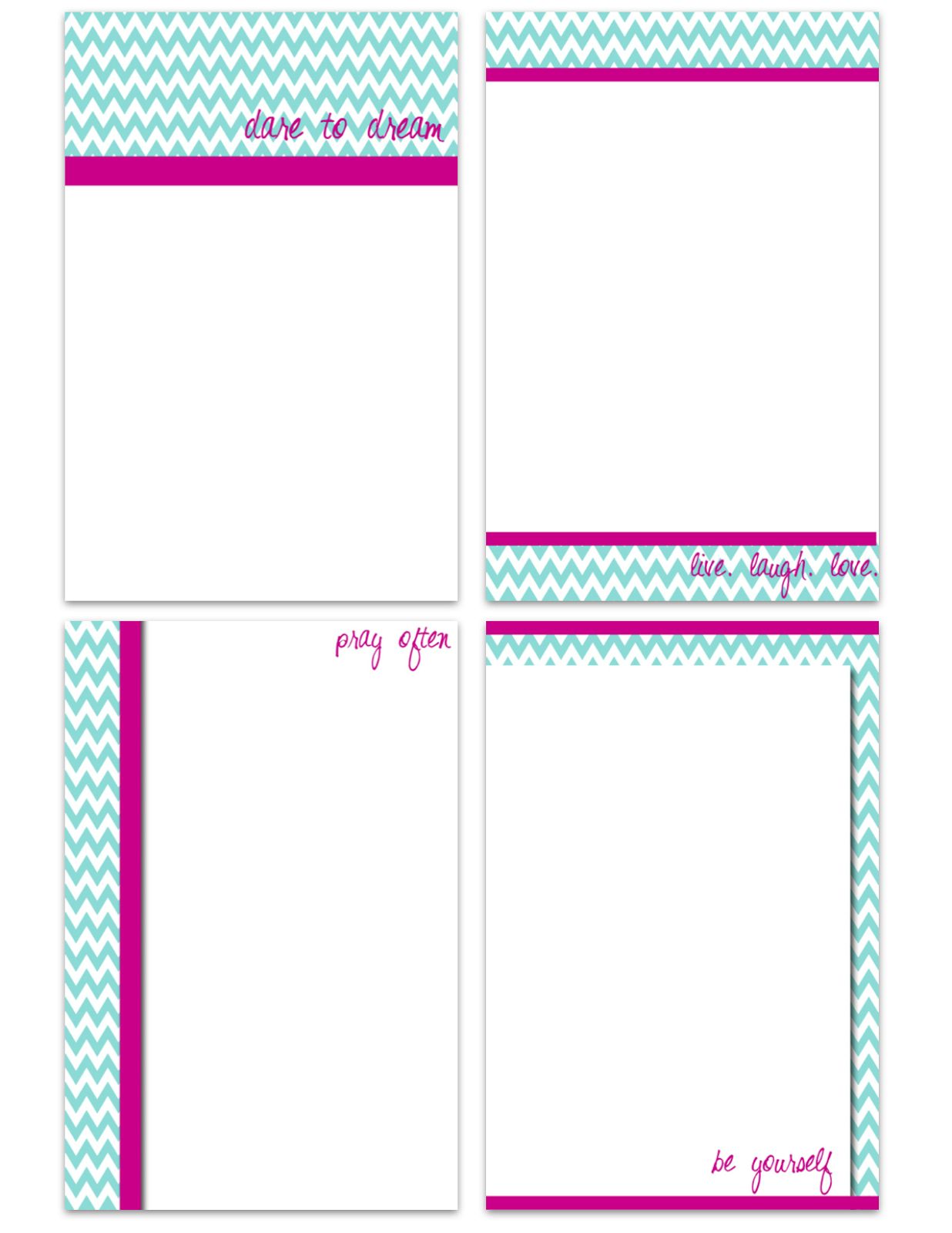 My Fashionable Designs: Free Printable Notecards: Teal Chevron - Free Printable Note Cards