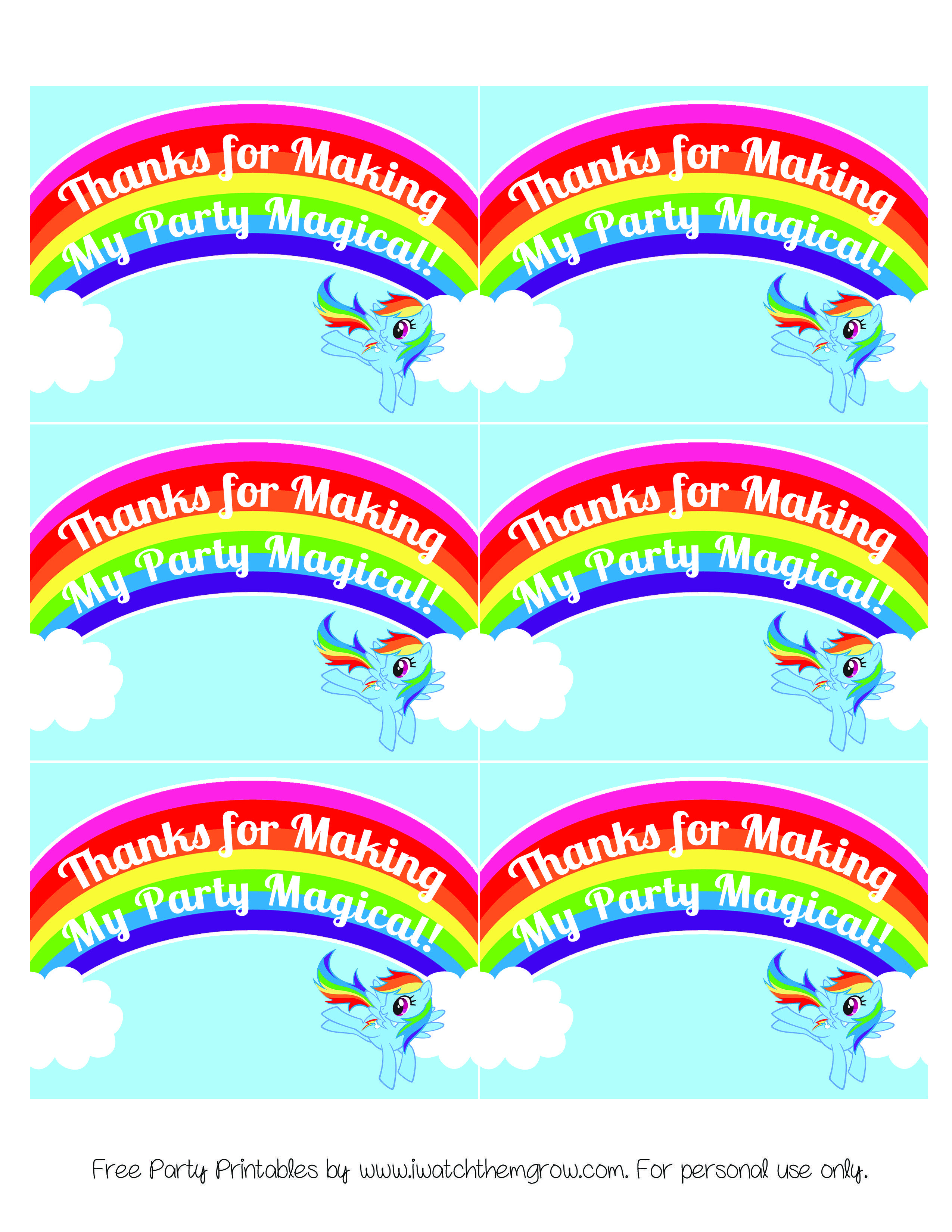 My Little Pony Rainbow Dash Birthday Party Printables | My Little - Free Printable Thank You Tags For Birthdays