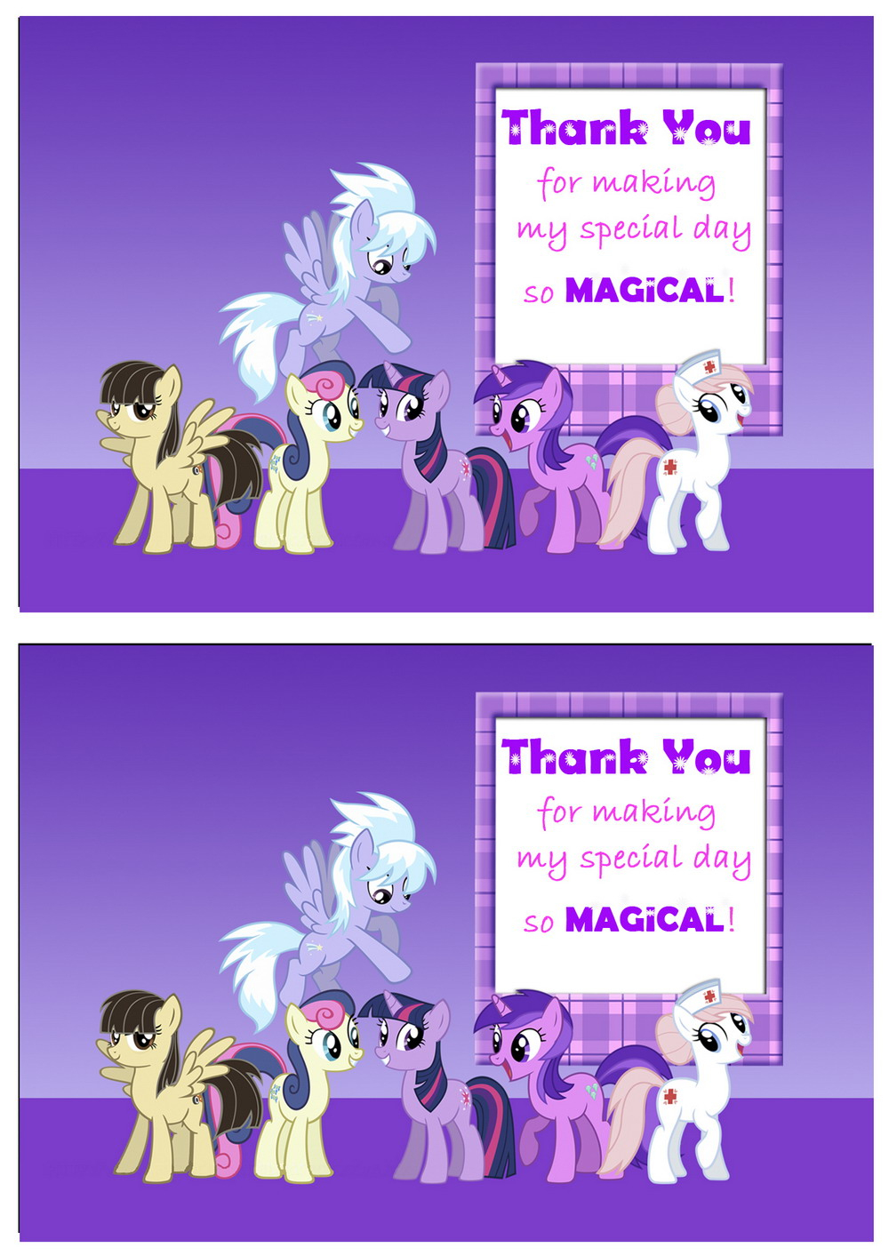 My Little Pony Thank You Cards | Birthday Printable - Free Printable My Little Pony Thank You Cards