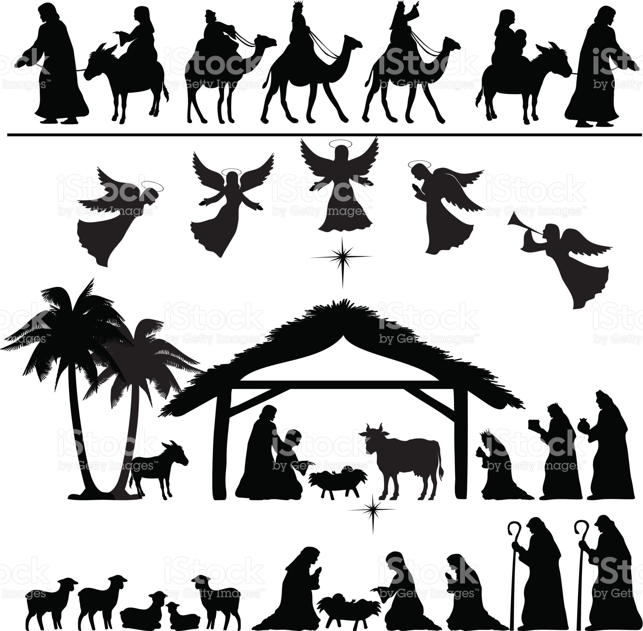 Nativity Silhouette Set. Eps 8. | All I Want For Christmas - Free Printable Nativity Silhouette