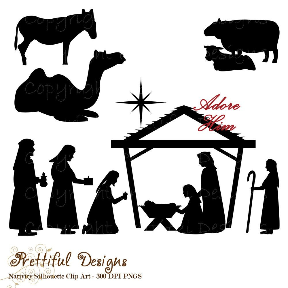 Nativity Silhouette Template Printable - Free Printable Nativity Silhouette