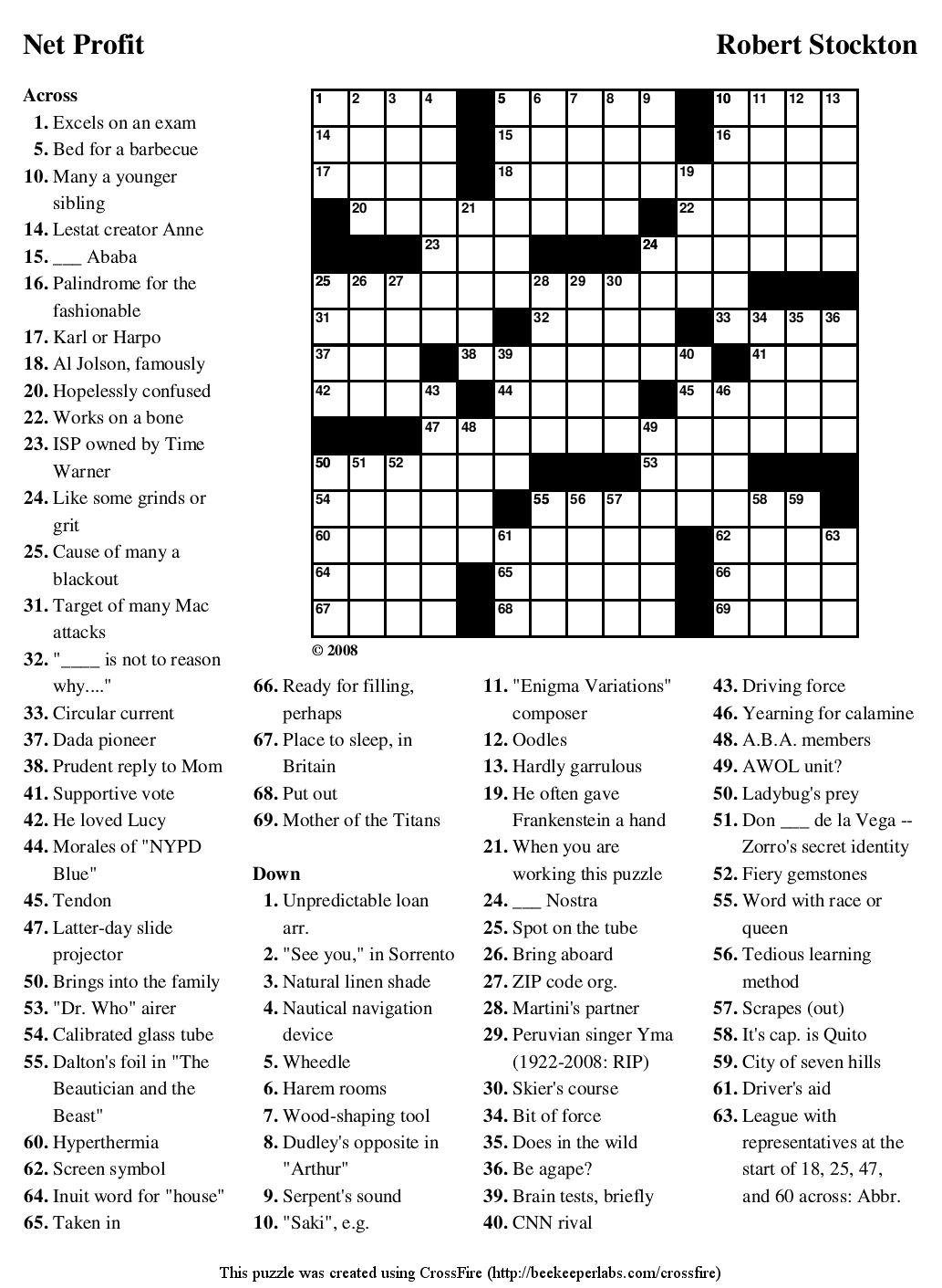 Netprofit Large Crosswords Printable Crossword Puzzle ~ Themarketonholly - Free Printable Puzzles