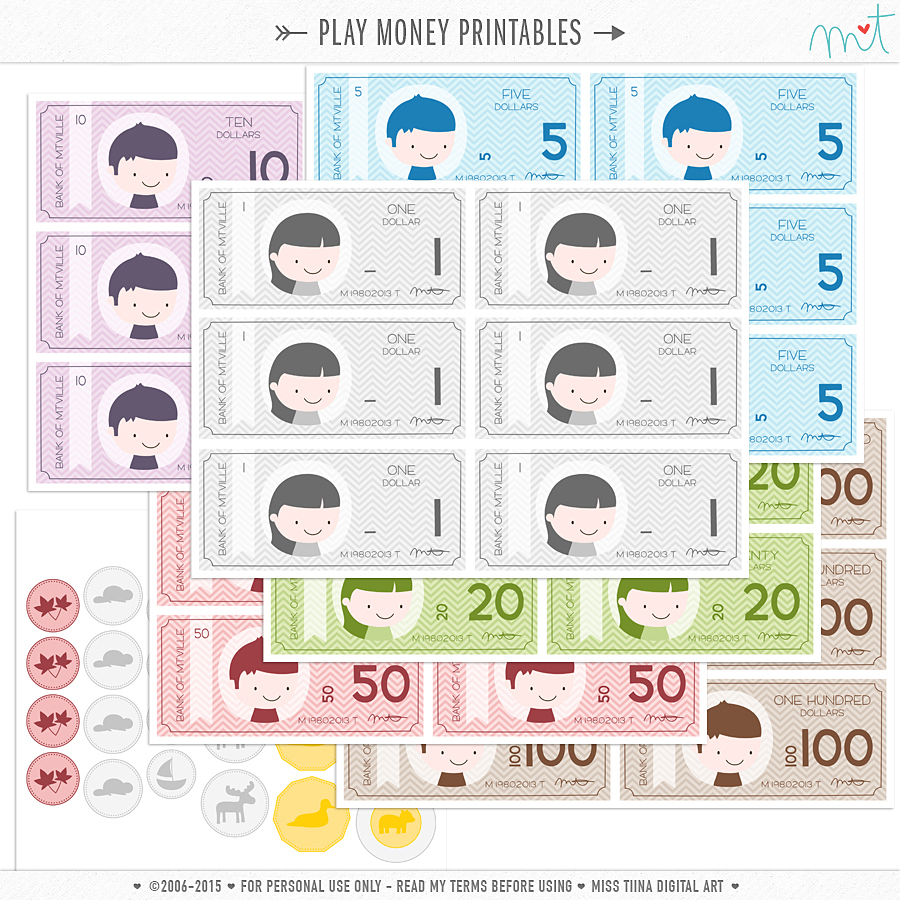 New Vector Saving Up + Free Printable Play Money! | Misstiina - Free Printable Money For Kids
