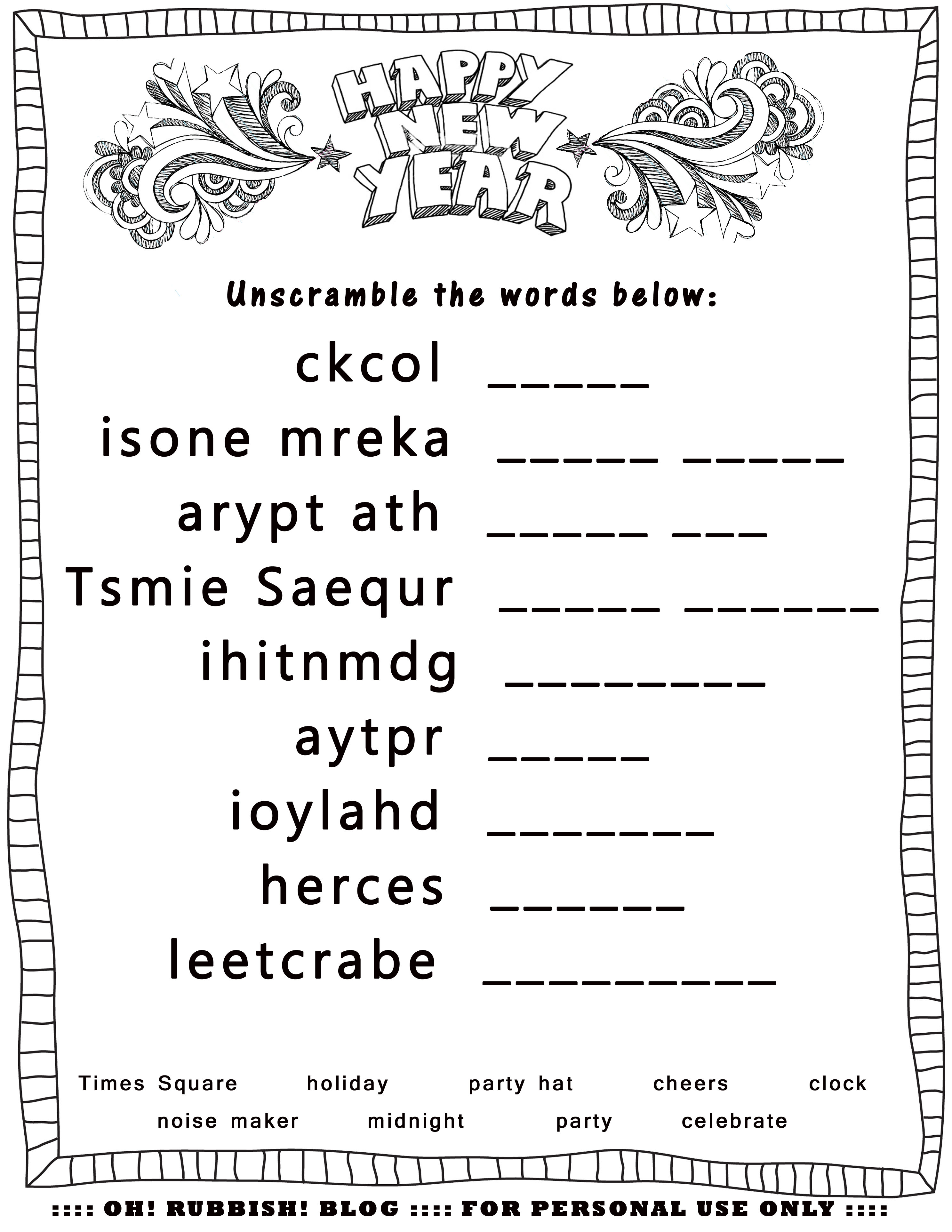 New Year's Printable Activities :: Entertain Your Kids With 4 New - Free Word Scramble Maker Printable