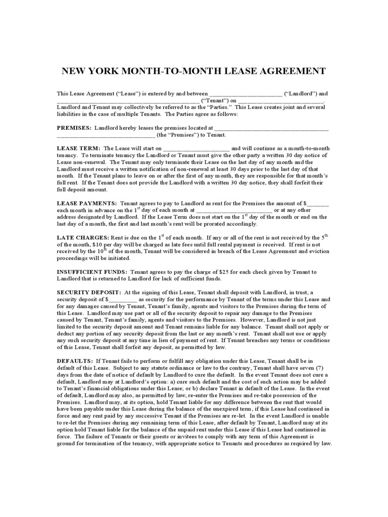 New York Rent And Lease Template Free Templates In Pdf Word Excel To - Free Printable Lease Agreement Ny