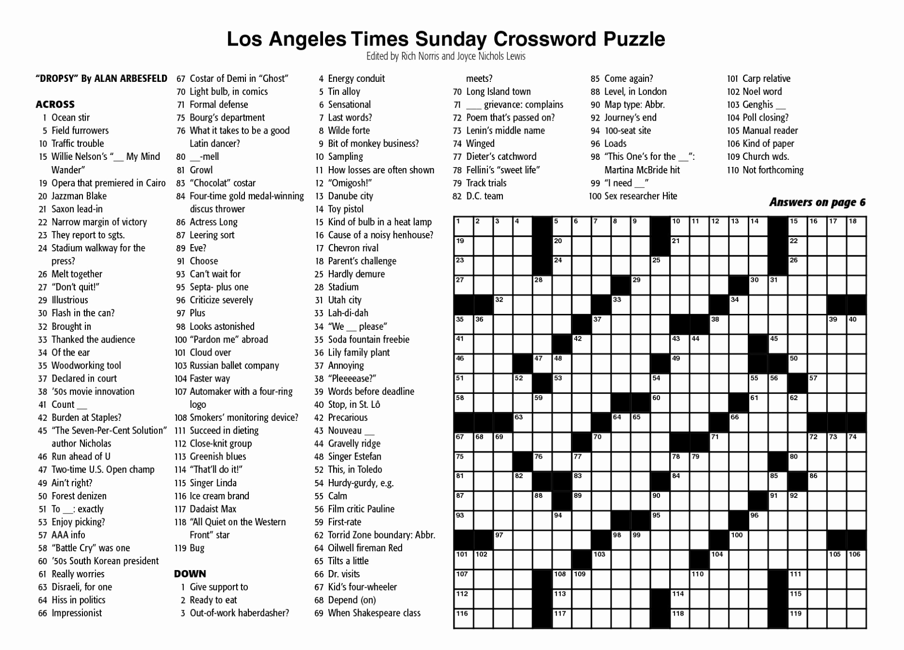 Selective image pertaining to new york times crossword printable free sunday