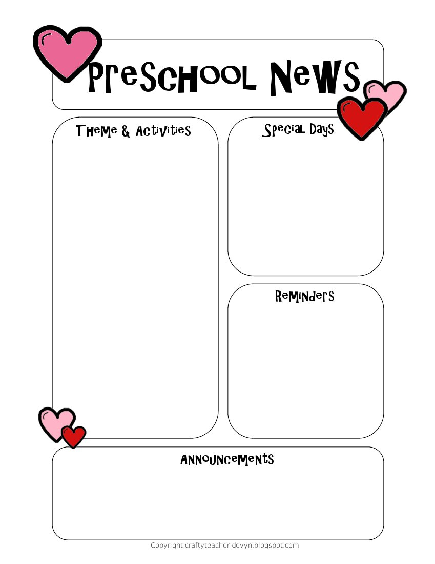 Newsletter Templates - Free Printable Preschool Newsletter Templates