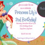 Nice Free Printable Birthday Invitations   Ariel Mermaid | Bagvania   Free Little Mermaid Printable Invitations