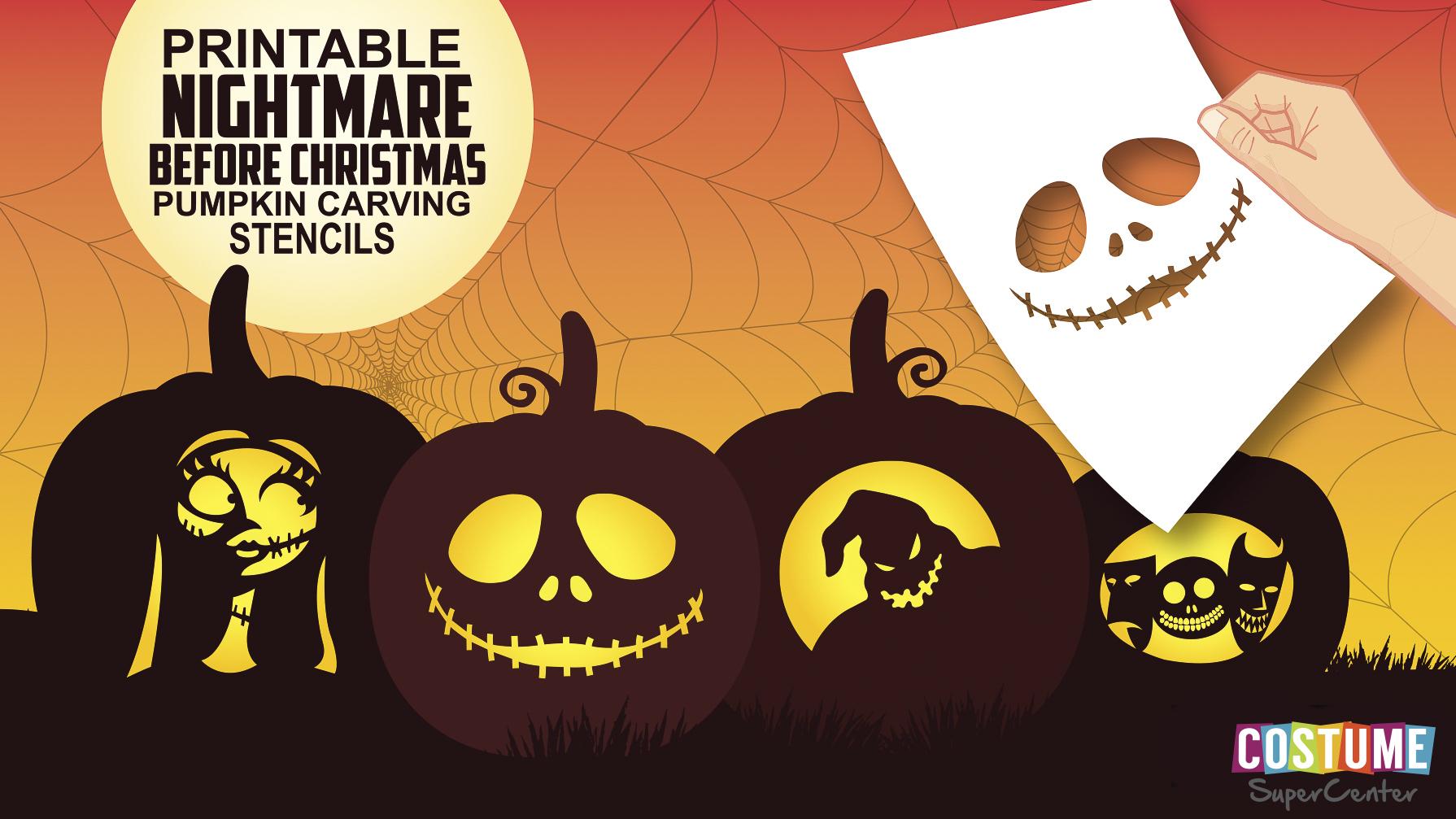 Nightmare Before Christmas Pumpkin Carving Stencils   Costume - Free Printable Nightmare Before Christmas Pumpkin Stencils